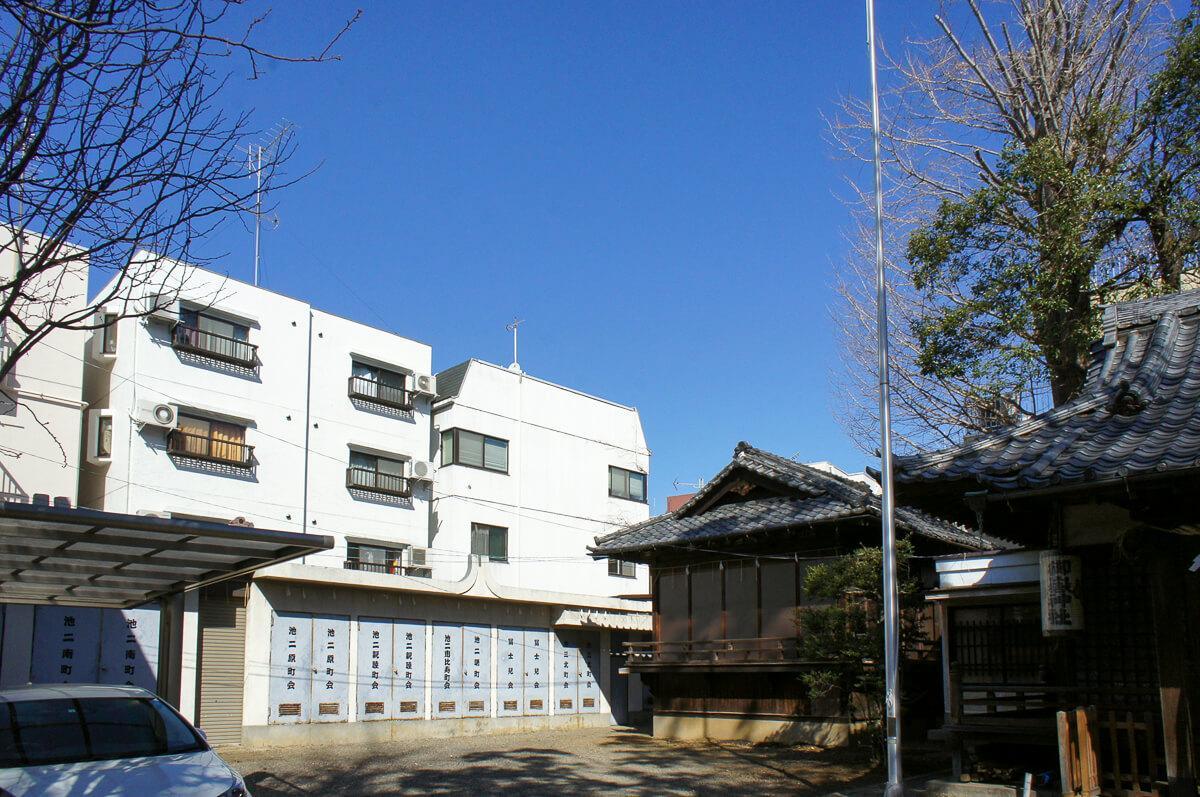 神社の境内から建物の裏側が見える