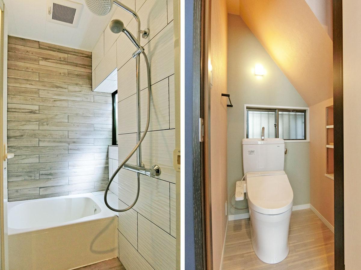 タイル張りのコンパクトなバス/階段下にトイレ