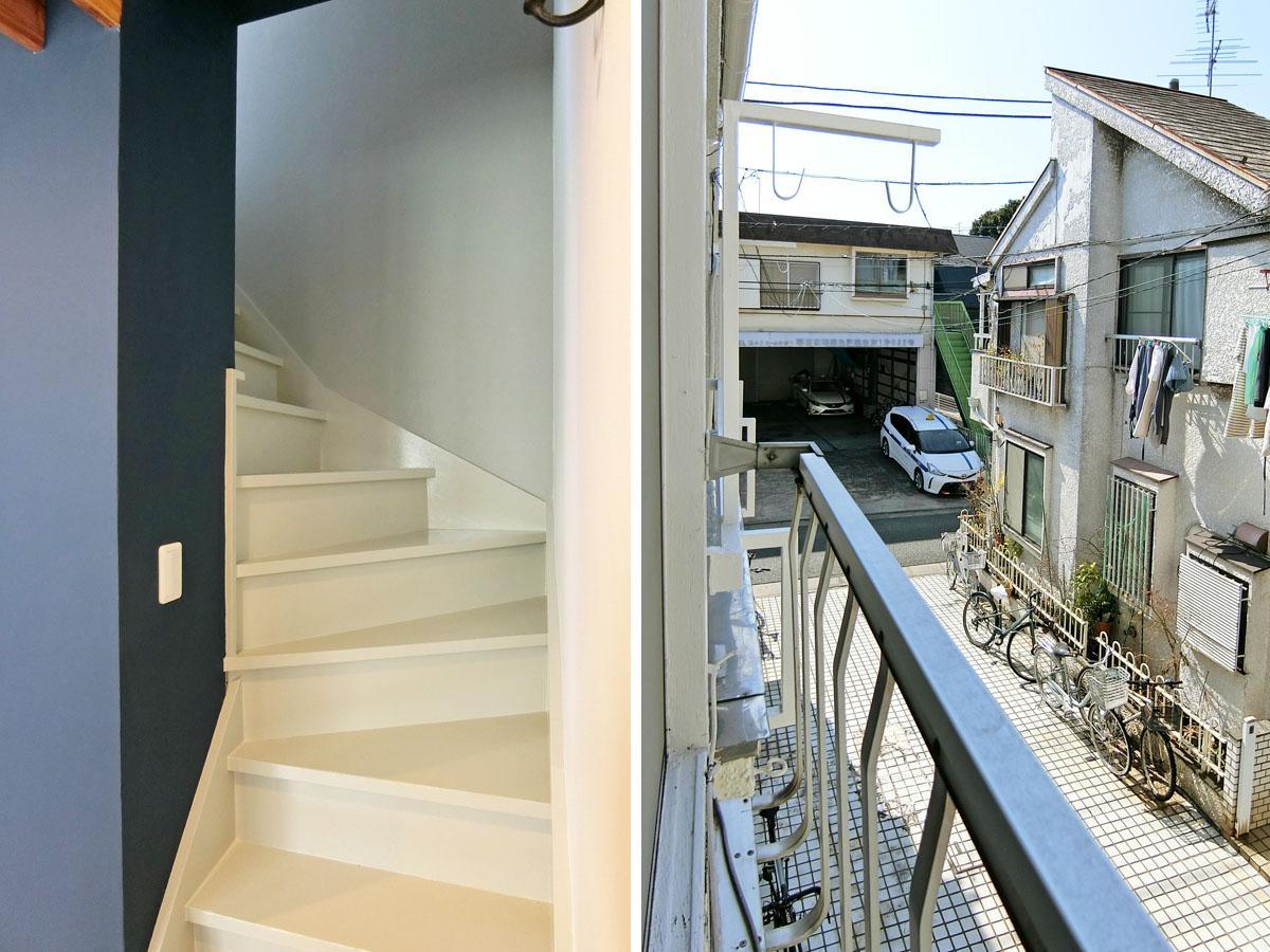 傾斜が強めの階段/2階にバルコニーはなく物干し竿を吊るす感じ