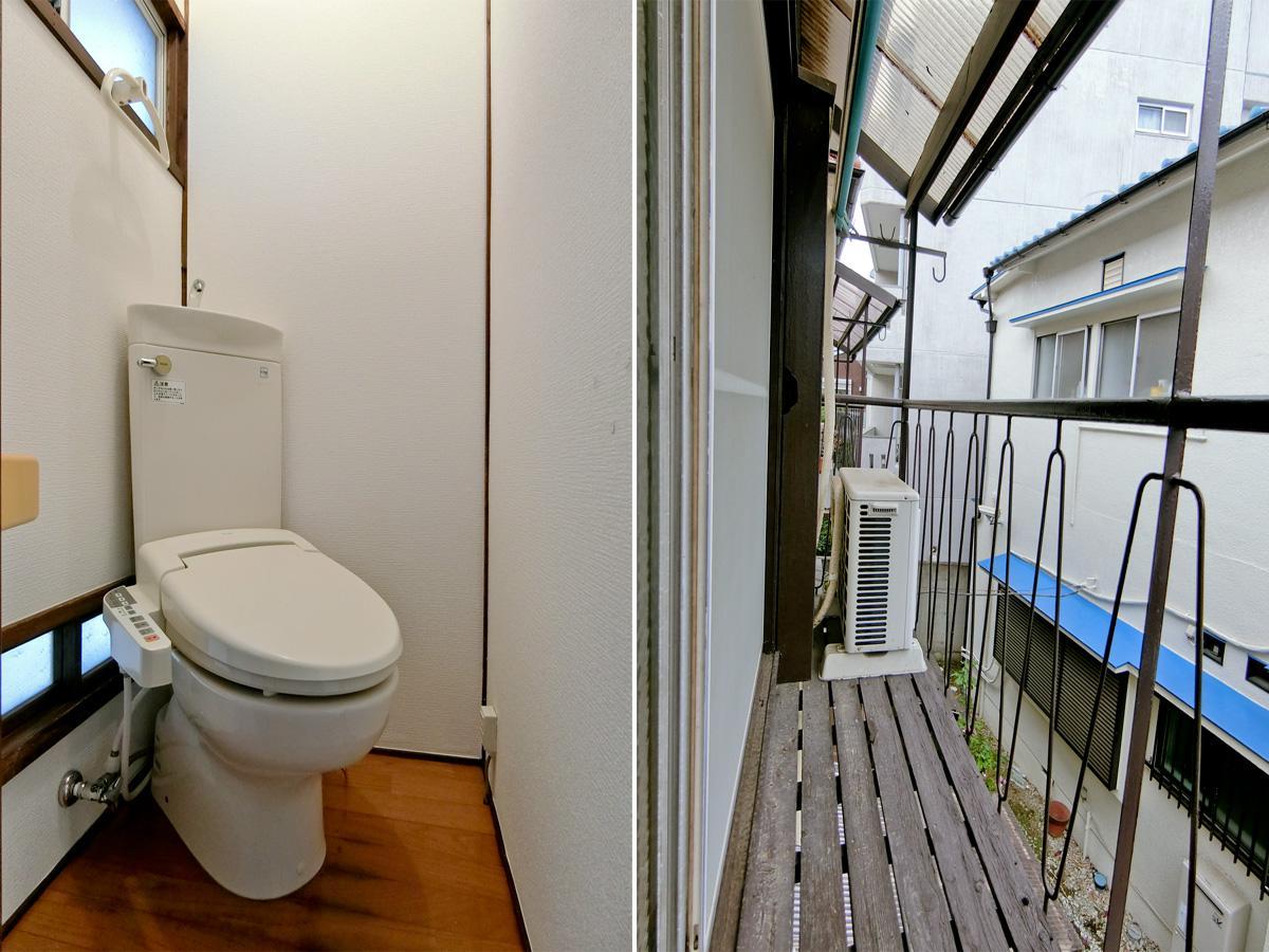 左:2階トイレにはウォシュレットもあります(残置物扱い)