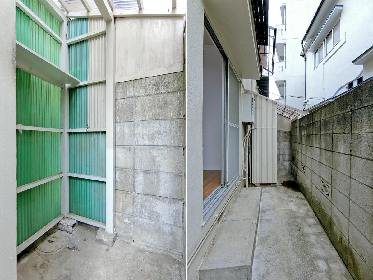 左:洗濯機置き場はこんな感じ 右:洗濯機置き場はこの奥にあります