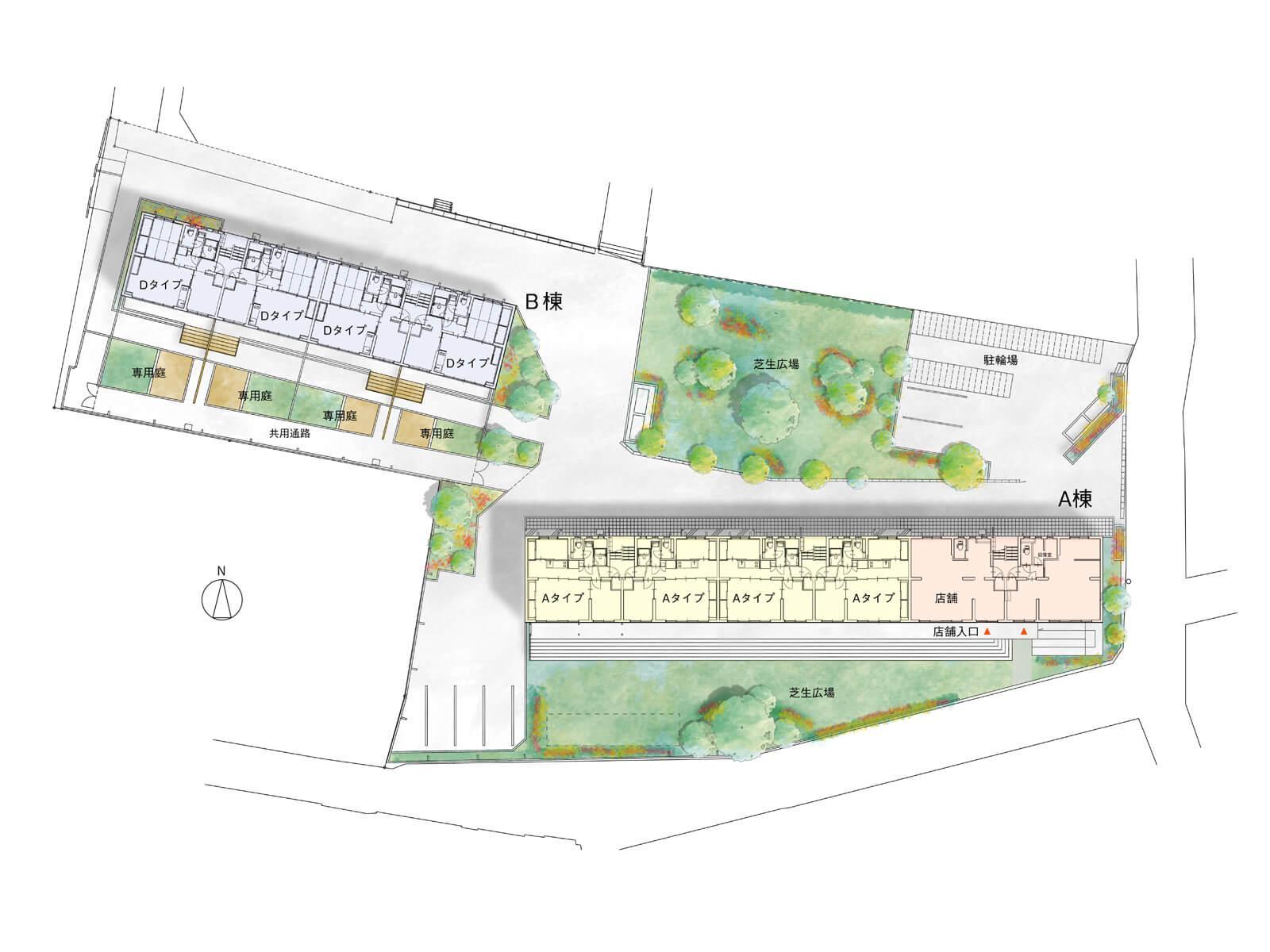 敷地全体図。店舗が入っているのは右下のA棟。