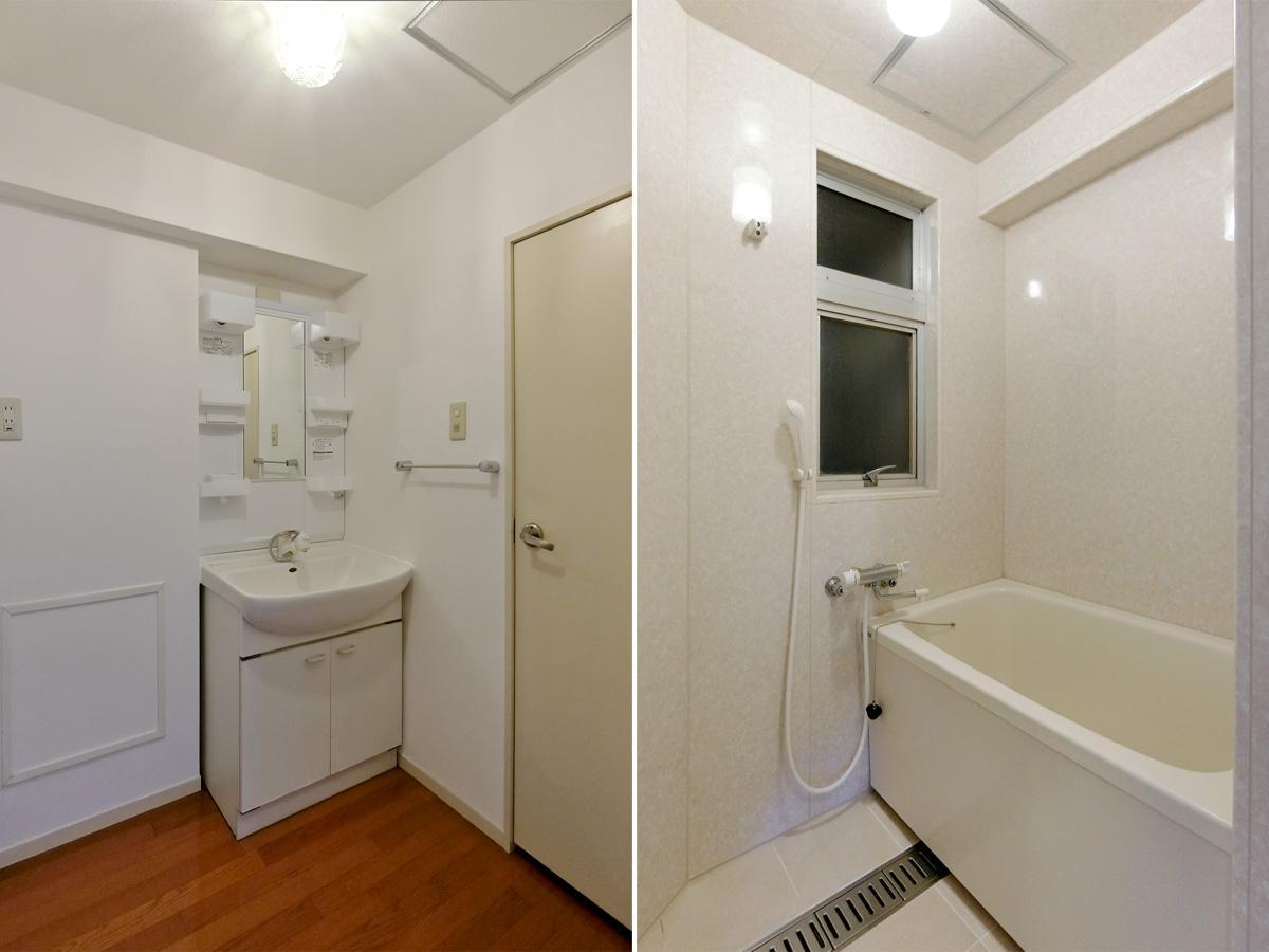 左:洗面台の左となりが洗濯機スペース