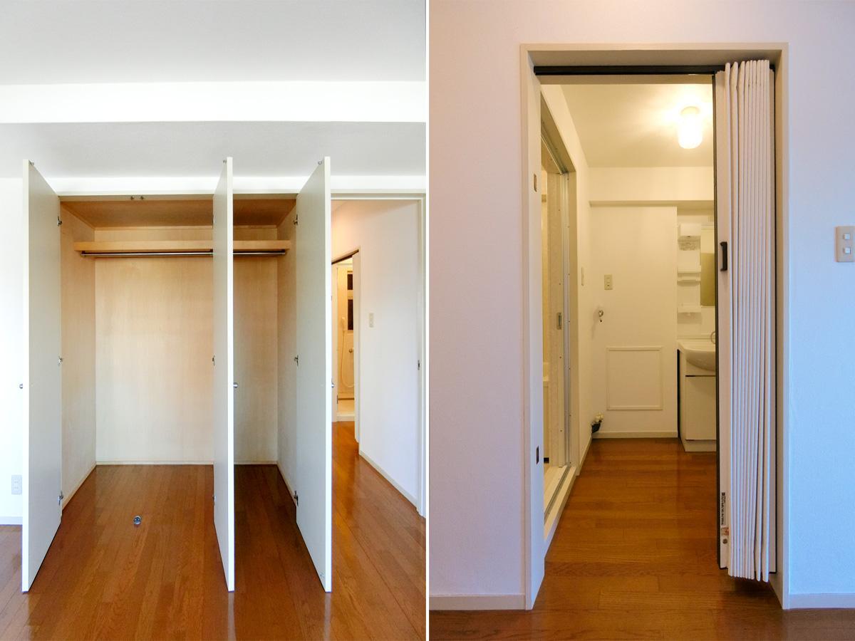 左:奥行があるためたくさん収納できそう 右:アコーディオンカーテンになっています