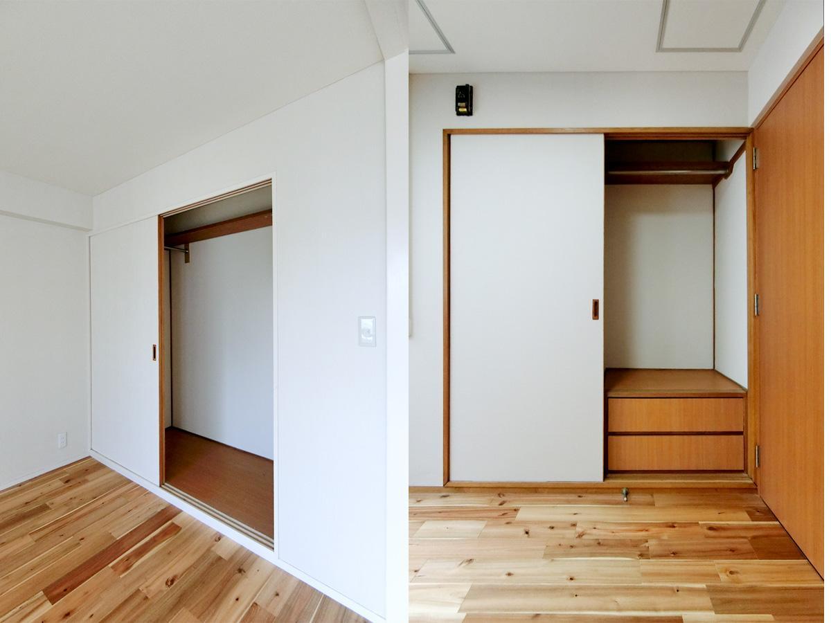 左:リビングダイニングの収納 右:寝室の収納