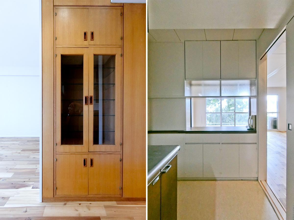 左:キッチン近くの棚 右:キッチンからでも、リビングの様子がうかがえるようになっています