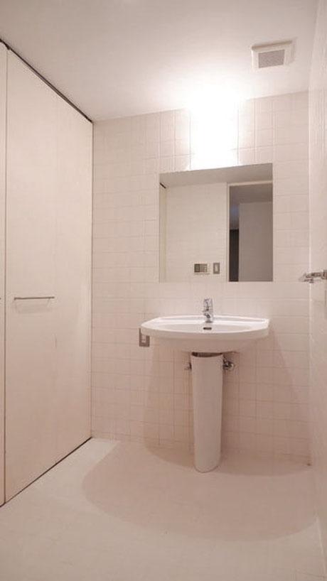 清潔感のある洗面室、左側に収納もあります