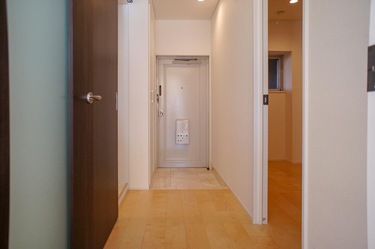 玄関とリビングを区切るドア付近からの視点