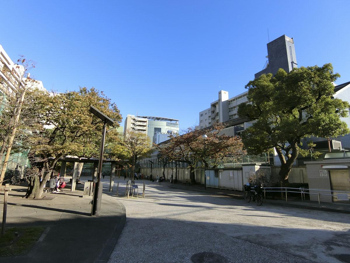裏手にある、「泉岳寺児童遊園」奥に見えるのは、今回の建物です