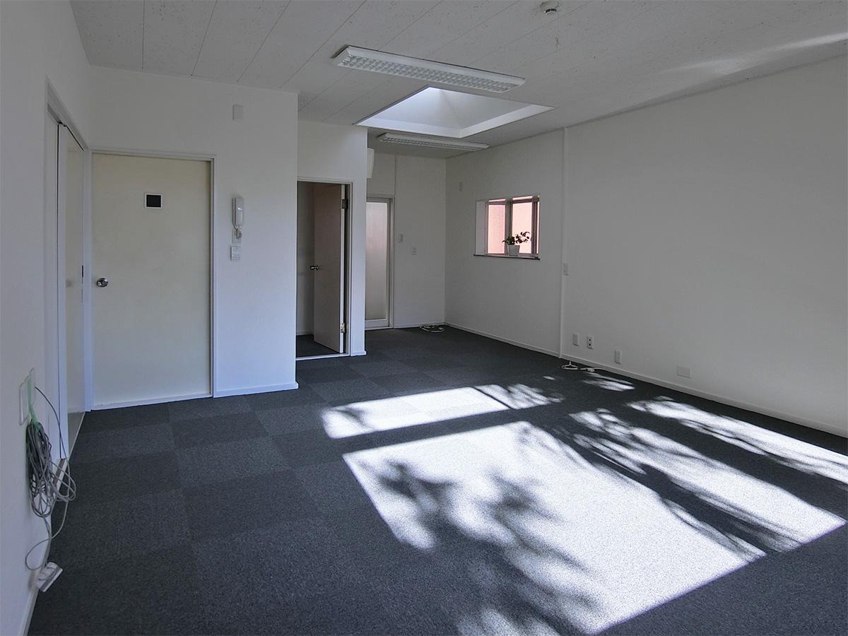 タイルカーペットに壁紙のシンプルな内装。天窓がアクセント