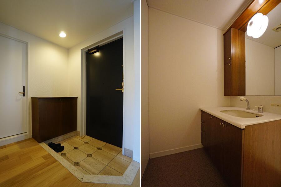写真左は玄関。右は洗面脱衣室。洗面台もいい感じです。