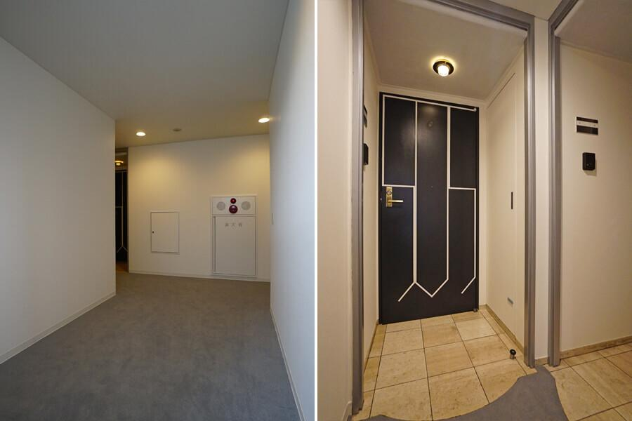 左は共用廊下。右は玄関前。ここも今回の工事できれいにしました。