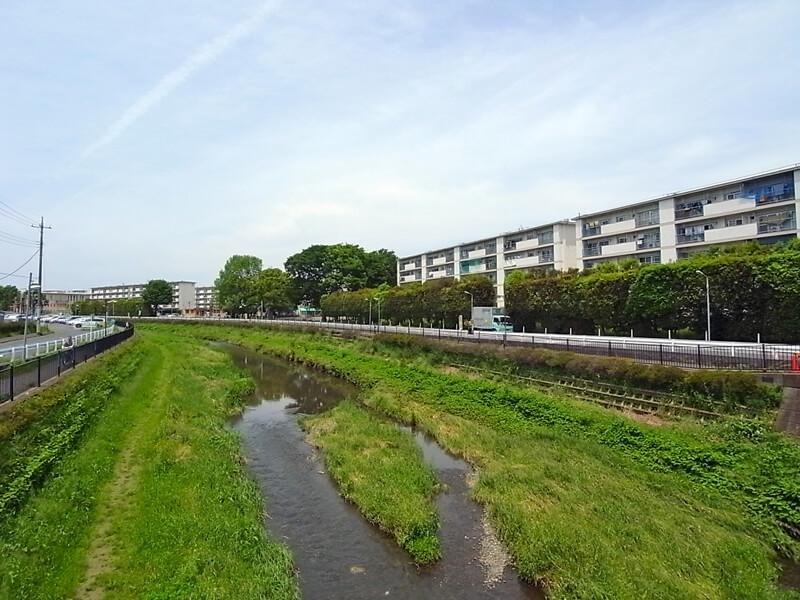 敷地の南側に野川という川が。川沿いの道は散歩などにぴったり。