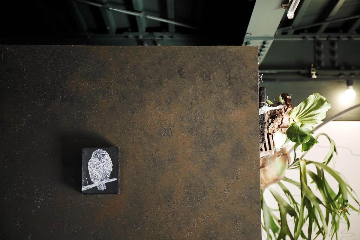 鉄錆色の塗装が施された壁で囲まれた水回り