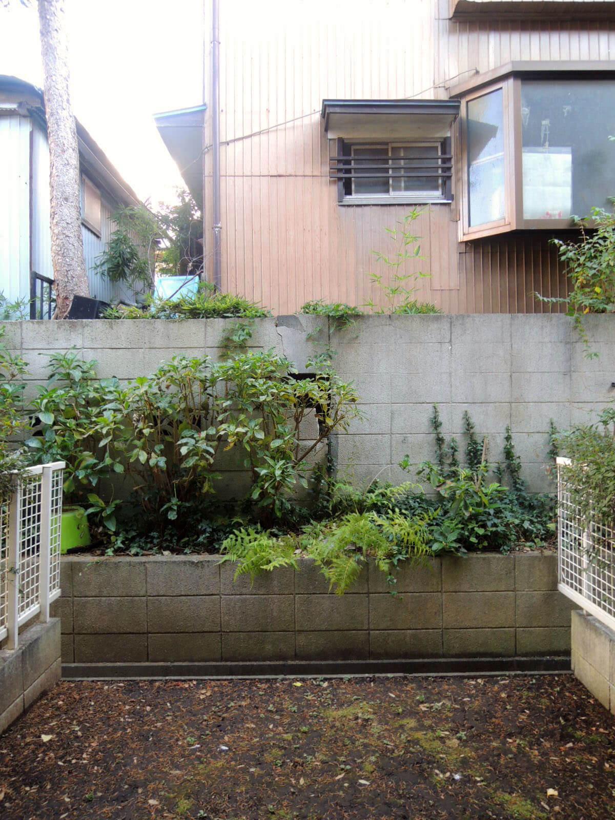 庭はコンパクトサイズで飾り気なし。