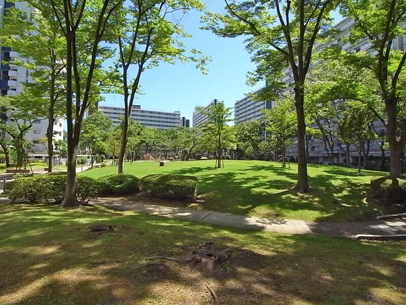 敷地内の広場には芝生と大きな木々。