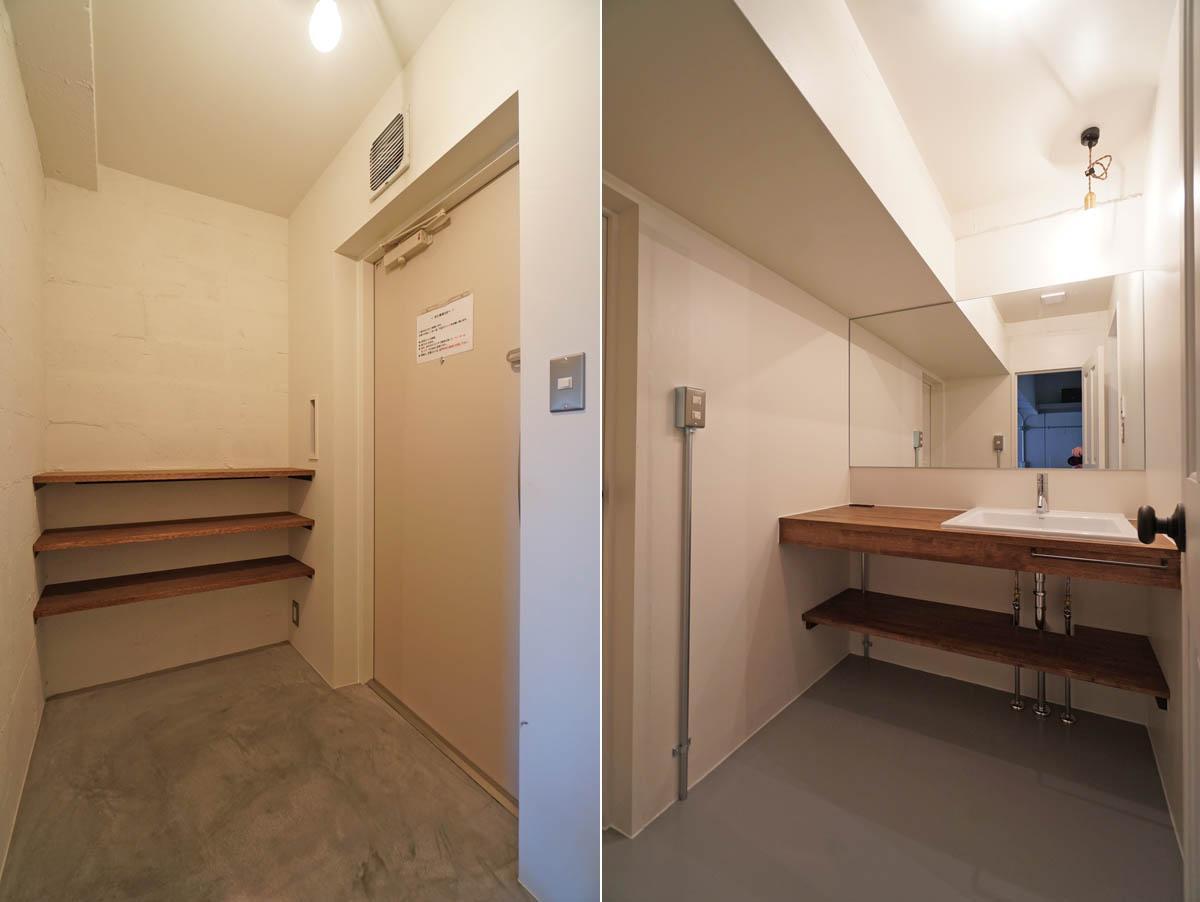 玄関は土間/二人並んで身支度できる洗面スペース