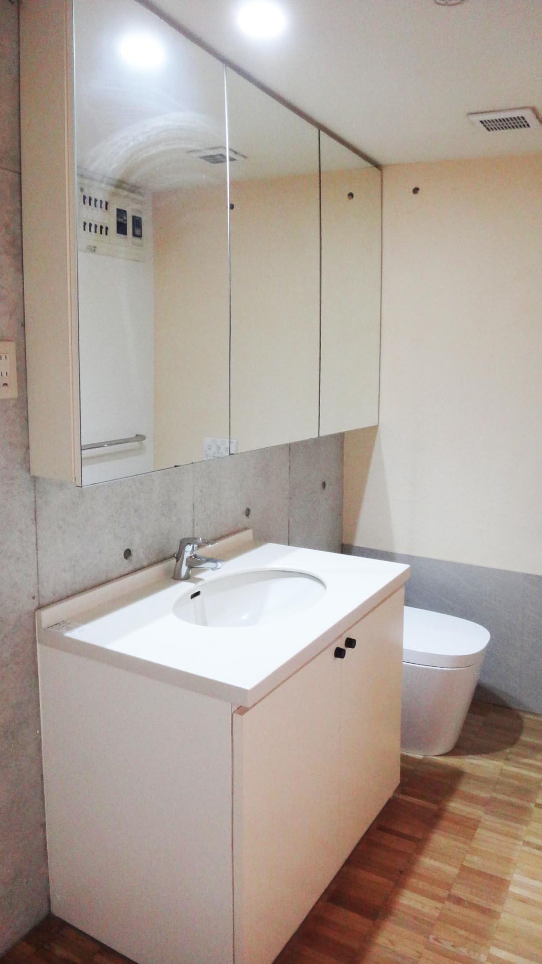洗面・トイレ・洗濯機は同じ空間です。大きなミラーキャビネット付きです。