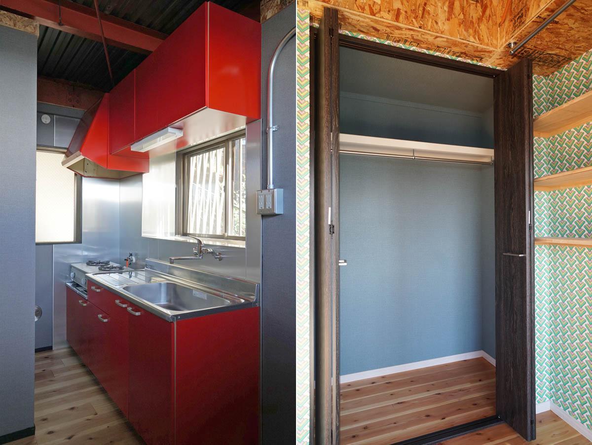 ブルーグレーの壁紙と、目の覚めるような赤いキッチン/3階の収納