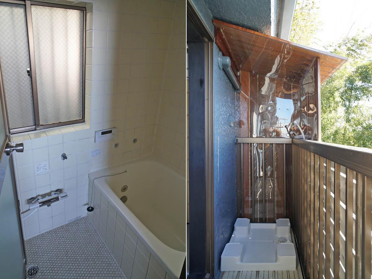 洗濯機置場はバルコニーですが、雨よけの屋根と壁がついています