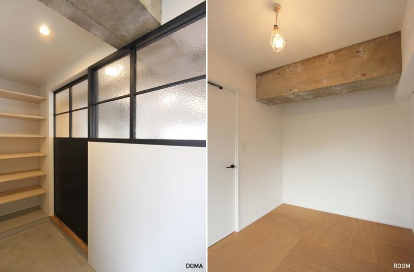 (左)広めの玄関。内窓によって光を通すデザインも素敵 (右)個室はシンプルに、床は合板の床