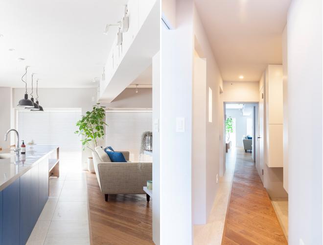 リビングの空間を緩やかに区切るフローリングとタイルが廊下まで延びユニークなデザインに。壁天井は白をベースにすっきりとつくられているのが上品