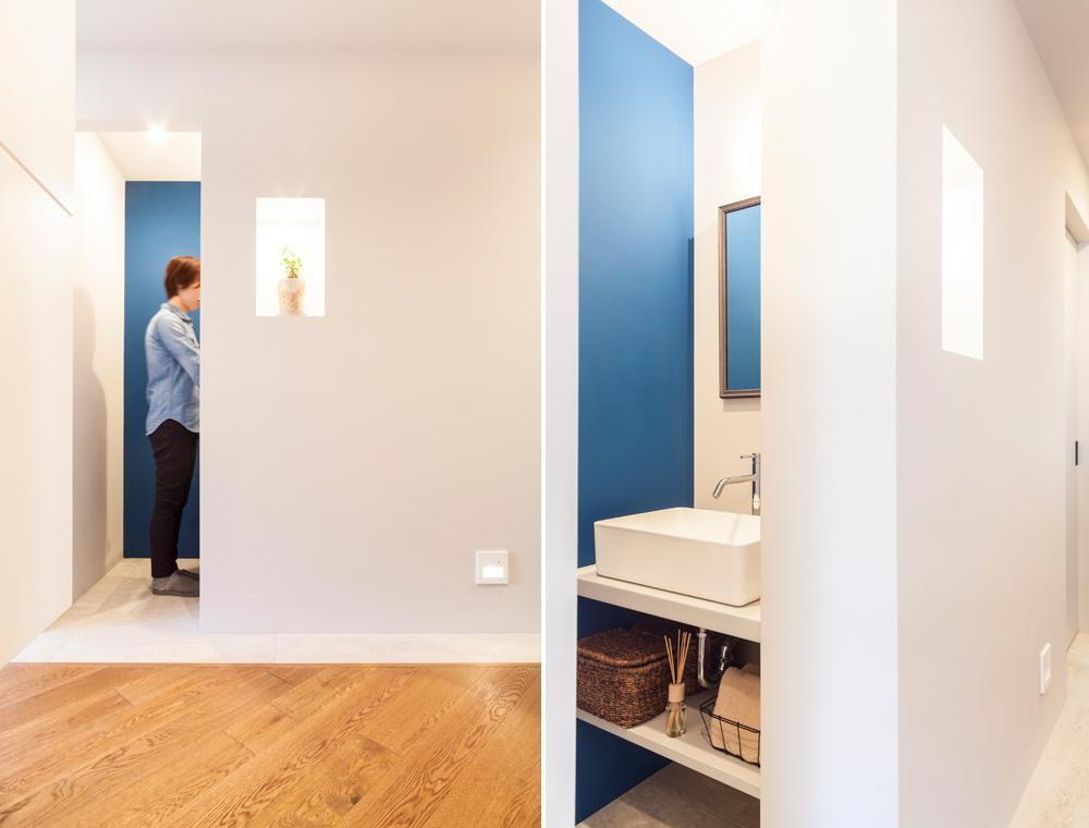 洗面室は玄関入ってすぐの場所にあり、帰ってきてすぐに手を洗えるようになっている