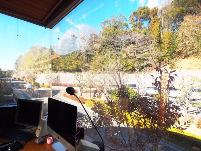 【北側】木々が茂る小山が一望にできる書斎