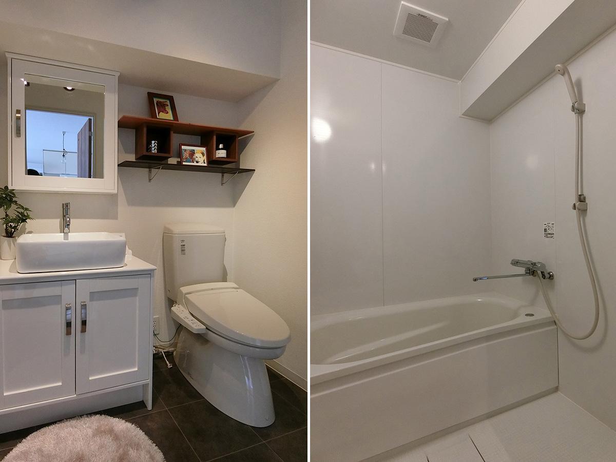 風呂・トイレ。洗面・脱衣所とトイレは同室です
