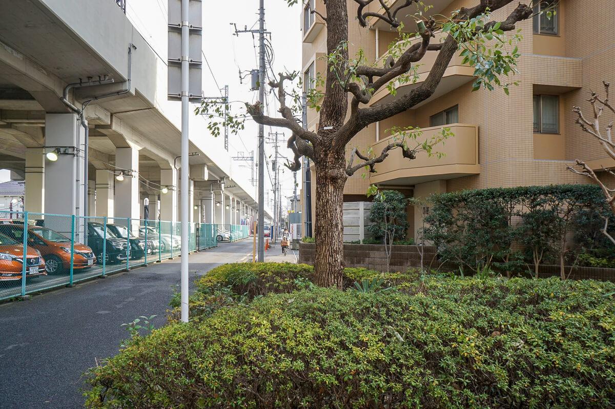 建物横の歩道