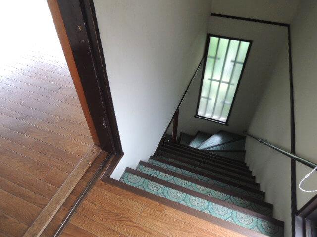 階段口にも植栽が透けるすりガラスの窓が。
