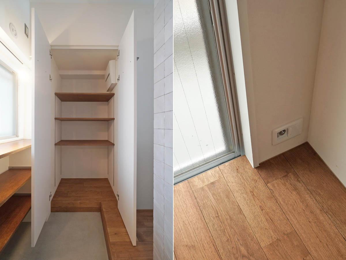 玄関土間の収納/リビングにはガスコンセントもあるのでガスヒーターが使えます