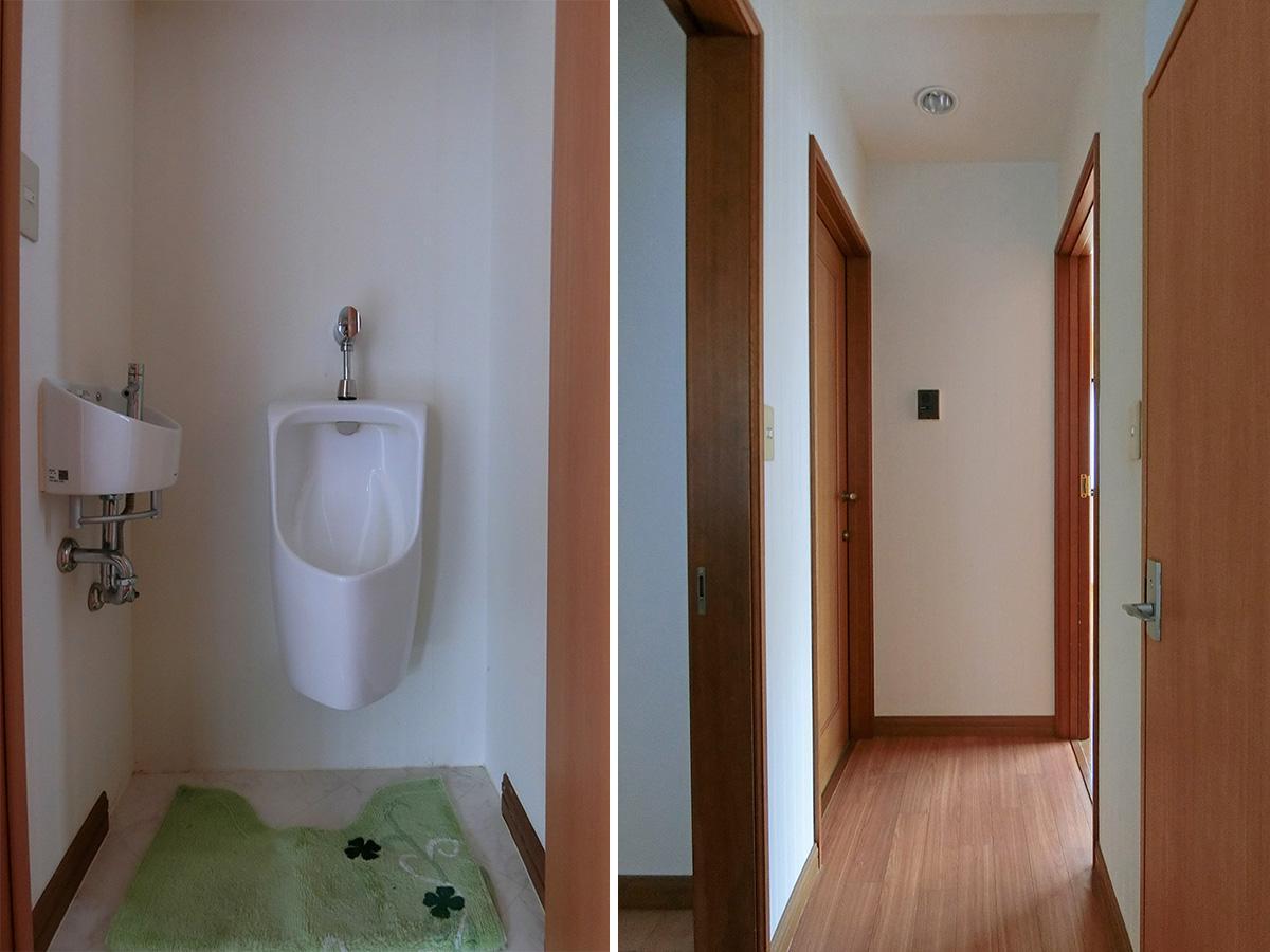 階段上がって右手側にお手洗いがついています