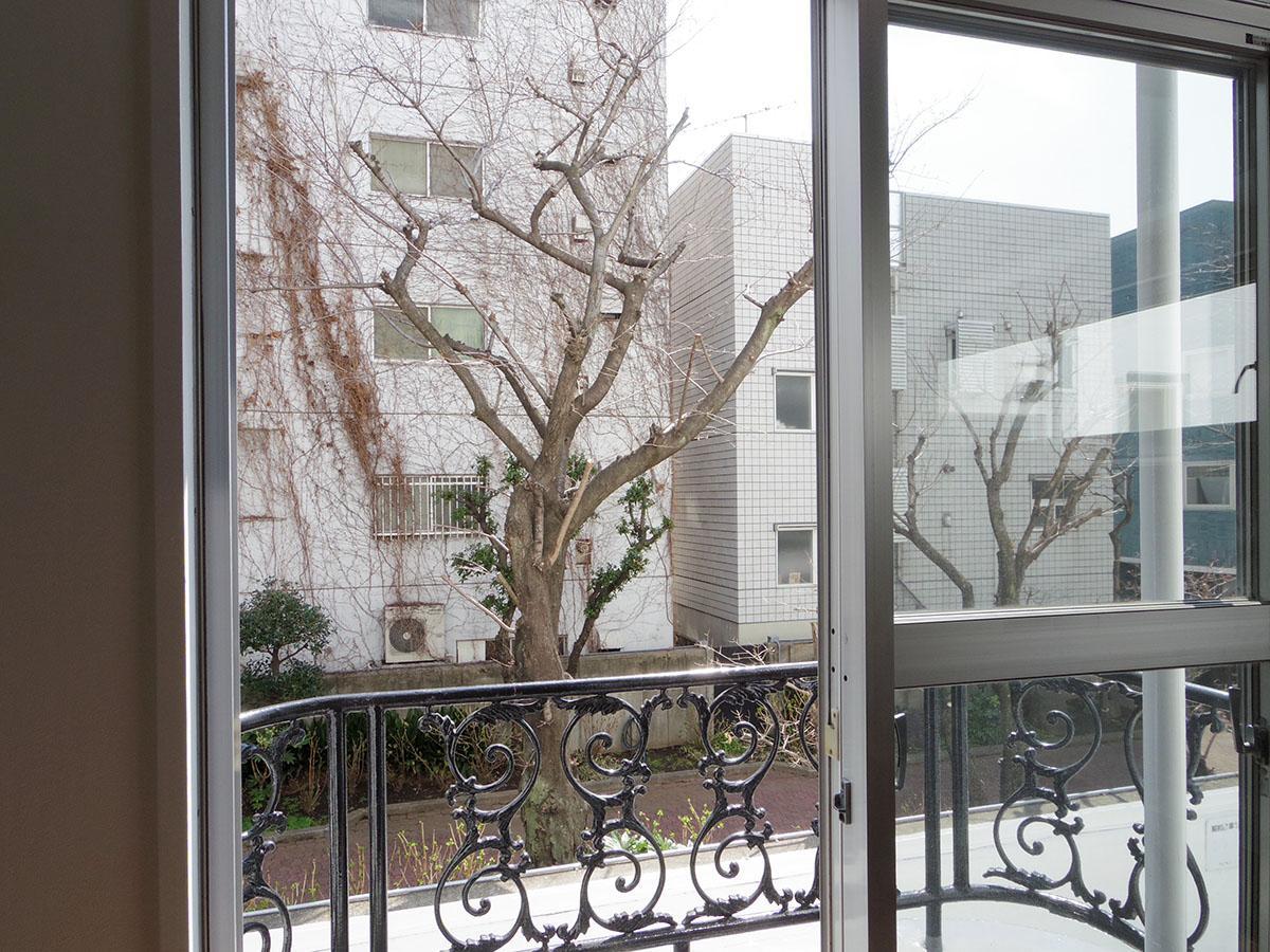 窓からは隣にある小学校の敷地の桜がきれいに見えます
