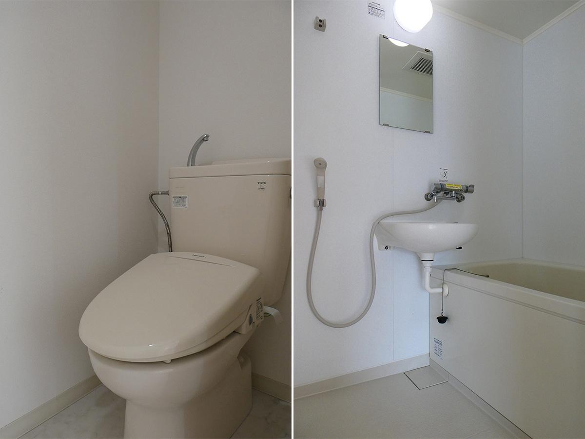 風呂は洗面と浴室が一緒の2点タイプ。脱衣スペースはありません