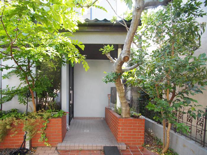 【玄関先】花壇があり、ここにも植物がたくさん。玄関の前に宅配BOXが設置されていて便利