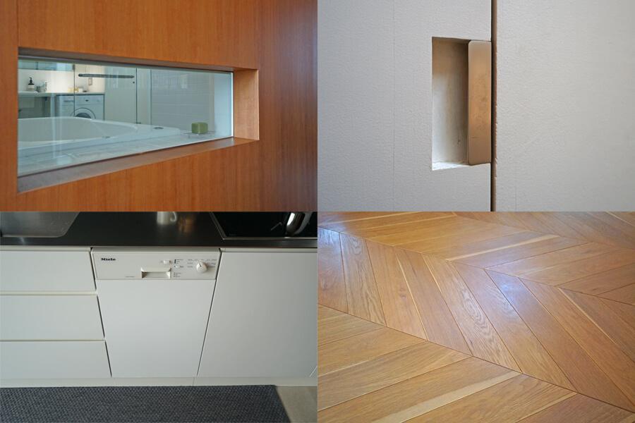 左上:浴室に窓。左下、右上:収納は取っ手が出ないデザインで、見た目がすっきり