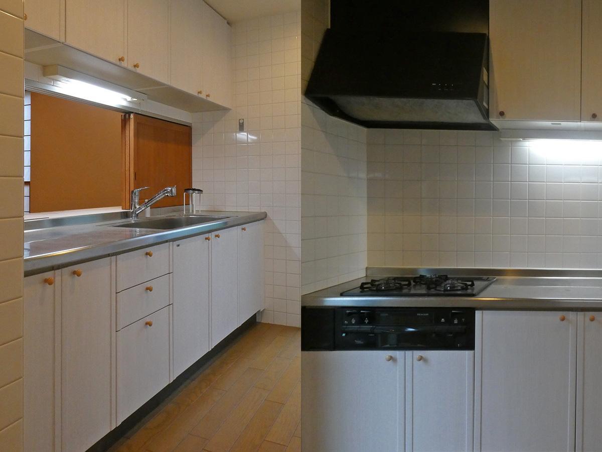 キッチンはシンクの方がダイニング向き。コンロは3口
