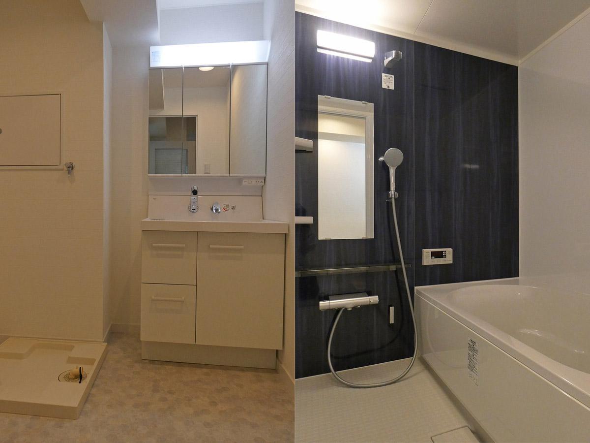 左:独立洗面台/右:浴室