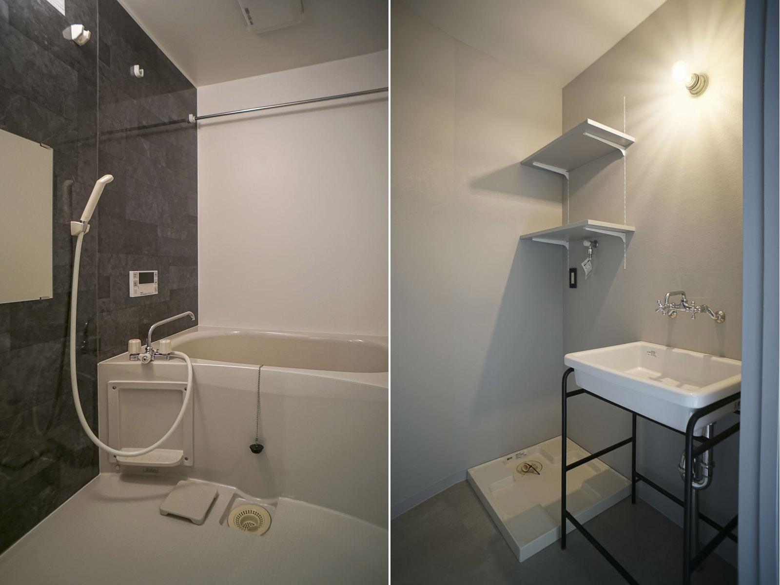 302:浴槽は追いだき機能付き 洗面台には鏡が設置予定