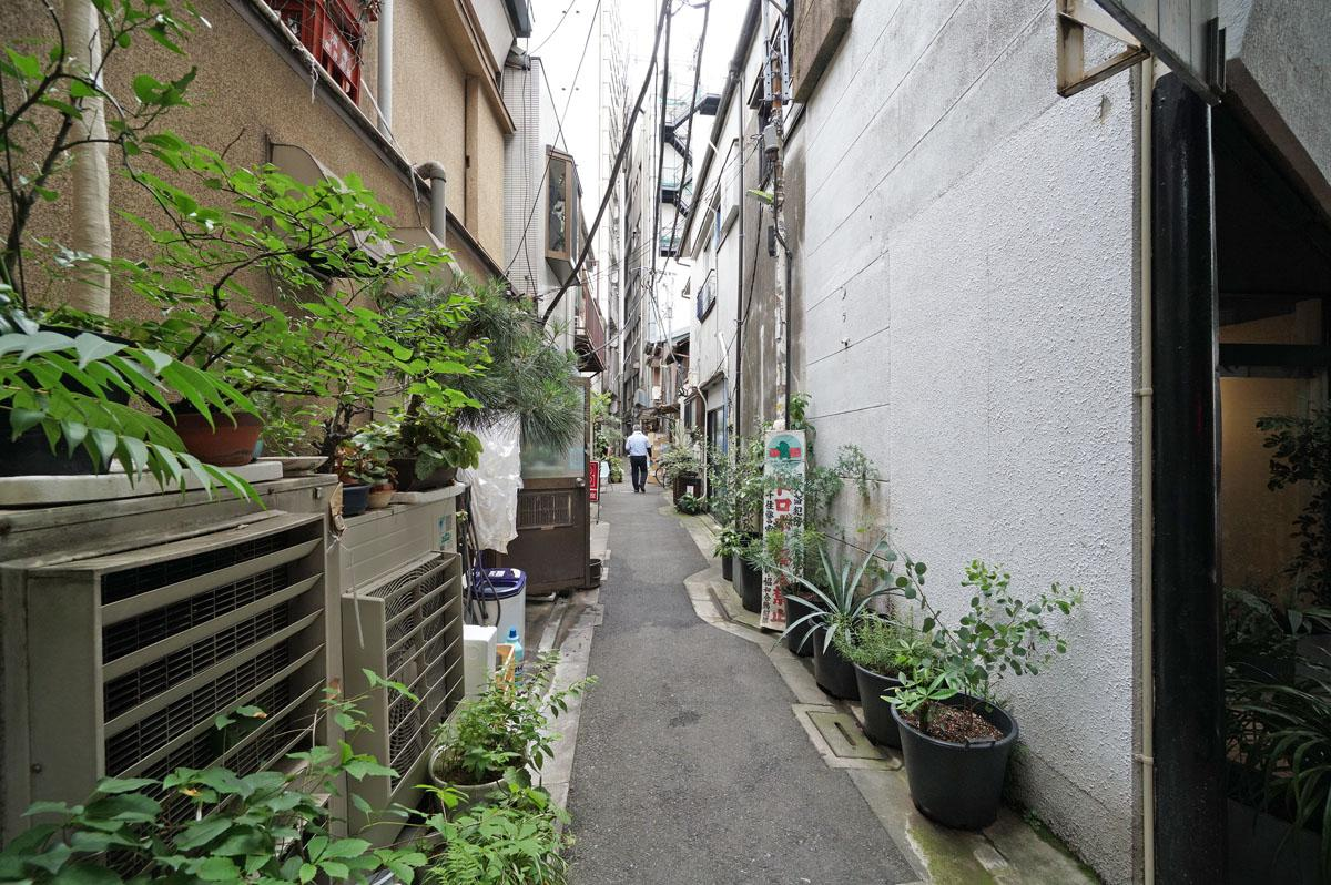 建物を正面に見て左側にも、下町情緒あふれる路地があります