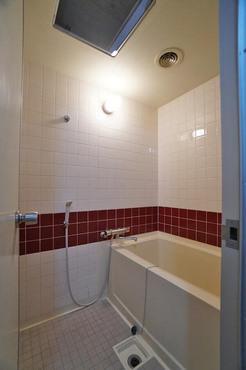 これまた個人的に好きな浴室。点検口が天窓風