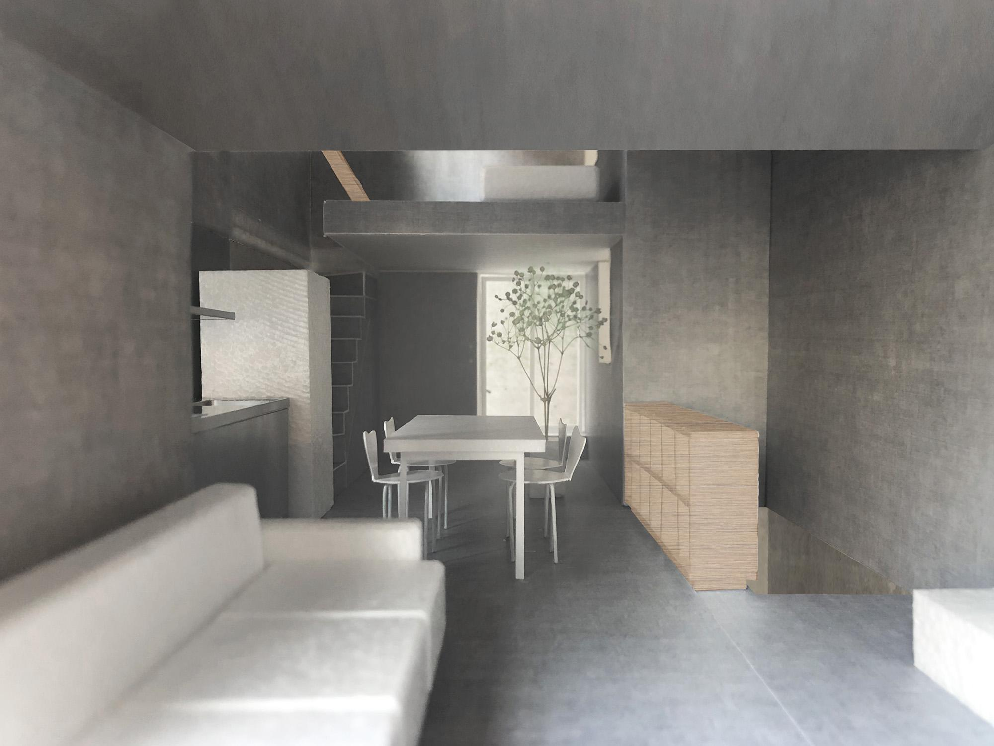 F号室はグレーを基調とした無機質な空間を予定