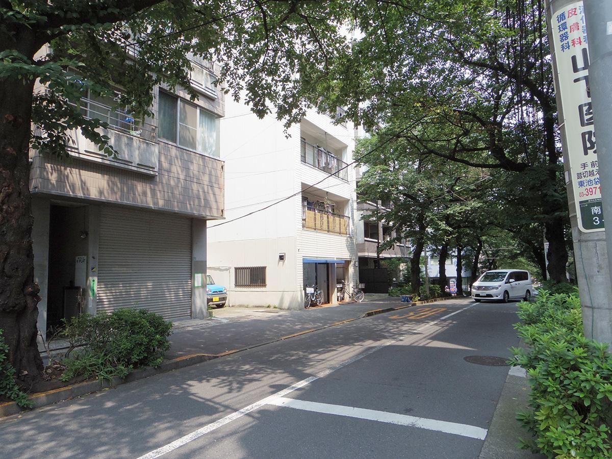 前面道路は「南大塚三丁目桜並木通り」。600mに渡って桜並木が続く
