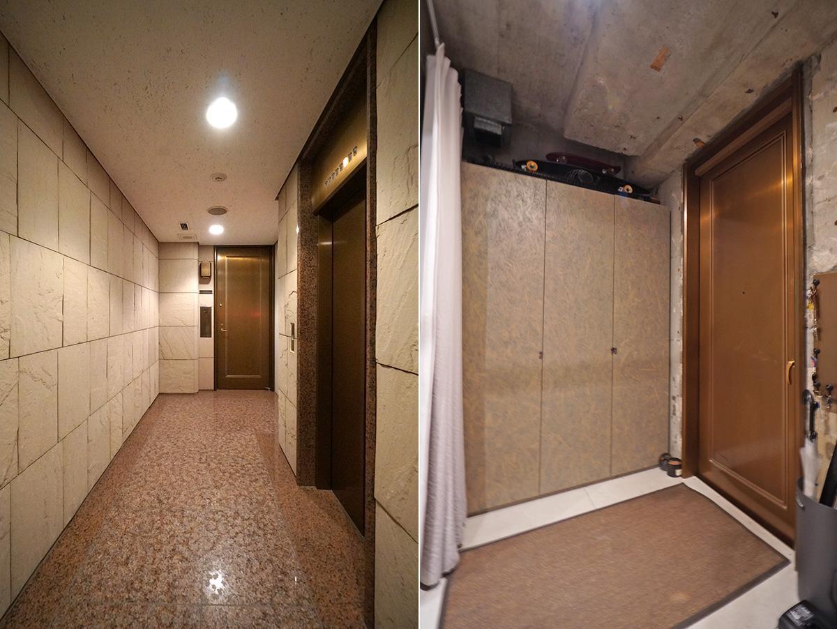 重厚感のある共用部/床はスラブの高さのままなので、玄関にはマットを敷いています