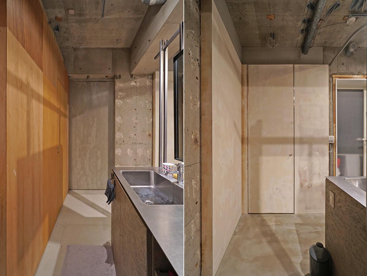 左右の写真の中心にあるのが、各寝室への入口ドア。隠し扉みらいです