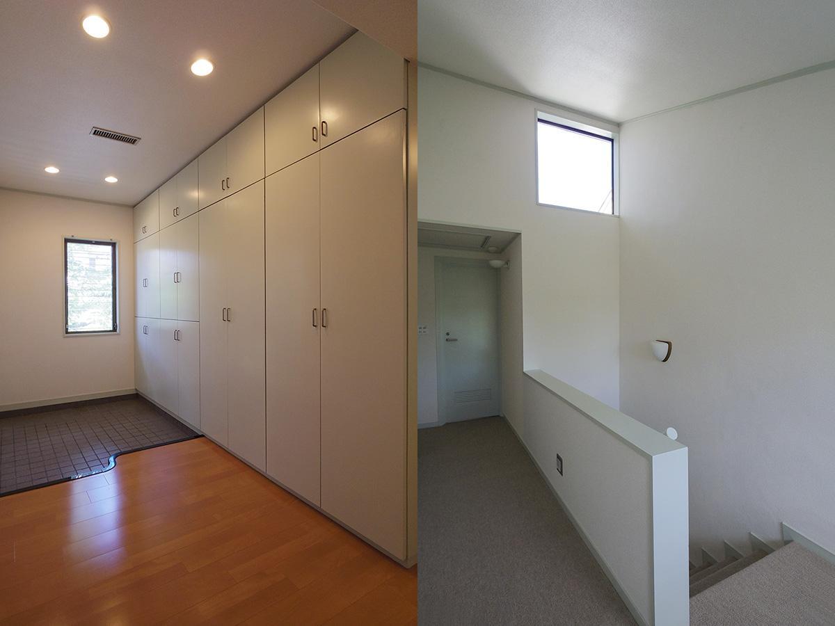 大型収納のある玄関と、カーペット仕様の2階廊下