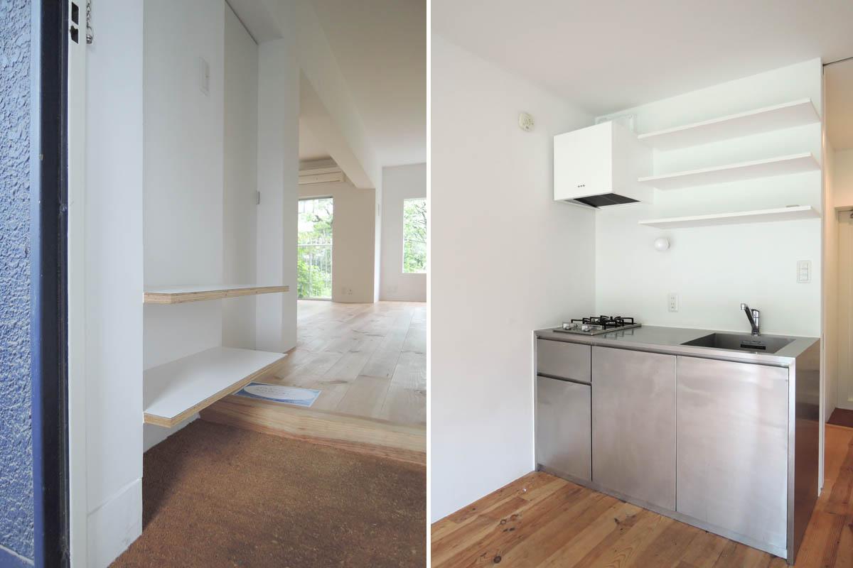 左:玄関/右:キッチン(ガスコンロ2口)