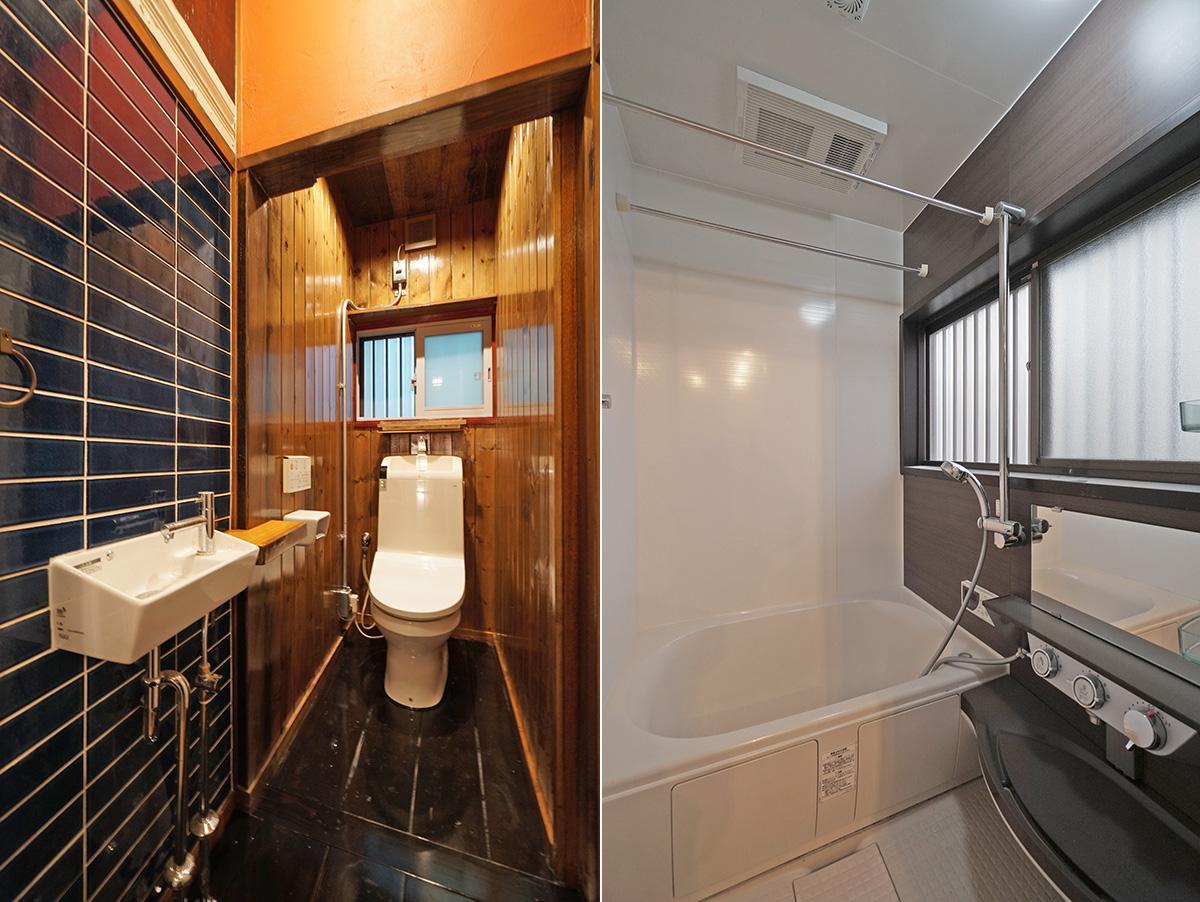 あえて思いっきりツヤありで塗装した黒い床のトイレがカッコいいです