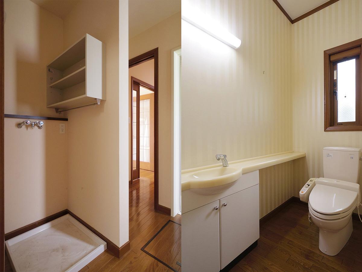 洗面の向かいに洗濯機置き場。トイレもゆったりサイズ